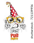 funny pug in a red polka dot... | Shutterstock .eps vector #721139956