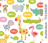 seamless pattern with jungle... | Shutterstock .eps vector #721140220