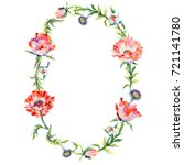 wildflower poppy flower wreath... | Shutterstock . vector #721141780