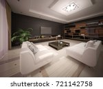 modern living room with a... | Shutterstock . vector #721142758