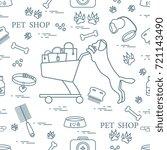 seamless pattern  dog  bowl ...   Shutterstock .eps vector #721143490