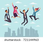 young  happy business people... | Shutterstock .eps vector #721144963