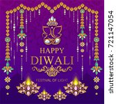 happy diwali festival card with ... | Shutterstock .eps vector #721147054