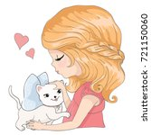 cute girl with cat.love cards... | Shutterstock .eps vector #721150060