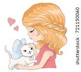 cute girl with cat vector...   Shutterstock .eps vector #721150060