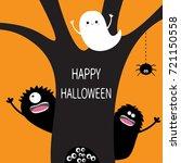 happy halloween. flying ghost ... | Shutterstock . vector #721150558