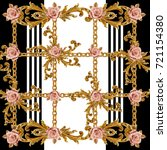 rose and baroque pattern. . for ... | Shutterstock . vector #721154380