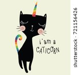 Stock vector unicorn cute cat vector design i am a caticorn animal illustration 721156426