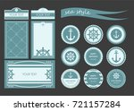 set of postcards in marine... | Shutterstock .eps vector #721157284