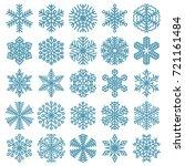 flat design line snowflakes...   Shutterstock .eps vector #721161484