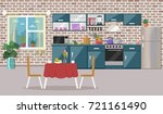 kitchen interior  with table ... | Shutterstock .eps vector #721161490