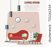 cozy living room interior with... | Shutterstock .eps vector #721161514