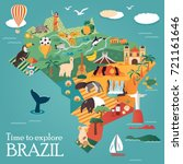 tourist map of brazil with... | Shutterstock .eps vector #721161646