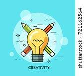 light bulb against crossed... | Shutterstock .eps vector #721162564