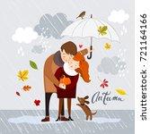 couple in the rain  autumn... | Shutterstock .eps vector #721164166