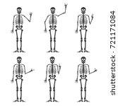 skeleton hand gestures set ok ... | Shutterstock .eps vector #721171084