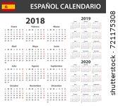 spanish calendar for 2018  2019 ... | Shutterstock . vector #721175308