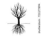 black tree with roots. vector... | Shutterstock .eps vector #721177894