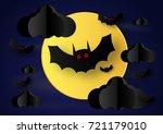 paper art of halloween concept... | Shutterstock .eps vector #721179010