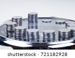 coins with plant and clock ... | Shutterstock . vector #721182928