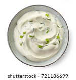 bowl of sour cream sauce with...   Shutterstock . vector #721186699