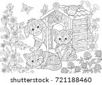 coloring page of dog  two cats  ... | Shutterstock .eps vector #721188460