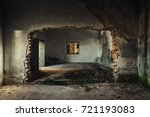 damaged building interior with... | Shutterstock . vector #721193083