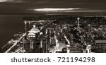 seattle rooftop panorama view... | Shutterstock . vector #721194298