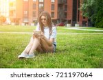 young student woman with tablet ... | Shutterstock . vector #721197064