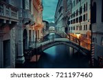 venice canal view at night with ... | Shutterstock . vector #721197460