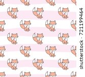 seamless pattern with fox... | Shutterstock . vector #721199464