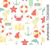 summer icons seamless pattern... | Shutterstock .eps vector #721201630