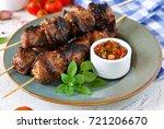homemade pork shish kebab with...   Shutterstock . vector #721206670