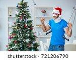 injured man celebrating...   Shutterstock . vector #721206790