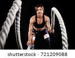 battle ropes session.... | Shutterstock . vector #721209088