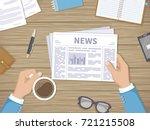 businessman reading daily news... | Shutterstock . vector #721215508