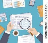 man reading latest business... | Shutterstock . vector #721215514