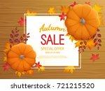 autumn sale background.... | Shutterstock . vector #721215520