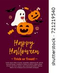 happy halloween postcard... | Shutterstock . vector #721219540