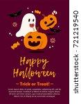 happy halloween postcard... | Shutterstock . vector #721219540