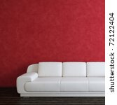 Interior square background with white sofa and red wall - stock photo