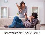 drinking problem drunk husband... | Shutterstock . vector #721225414