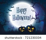 happy halloween greeting card.... | Shutterstock .eps vector #721230334