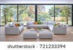 modern bright interiors. 3d... | Shutterstock . vector #721233394