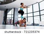 two sporty caucasian girls...   Shutterstock . vector #721235374
