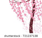 branches with pink flowers and... | Shutterstock .eps vector #721237138