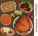 vector cartoon thanksgiving... | Shutterstock .eps vector #721238554