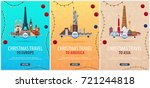 set of christmas travel posters ... | Shutterstock .eps vector #721244818