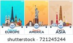 travel posters to europe ... | Shutterstock .eps vector #721245244