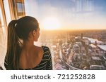 europe travel woman looking at... | Shutterstock . vector #721252828